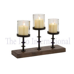 Decorative Iron metal Candle Holder on wooden base