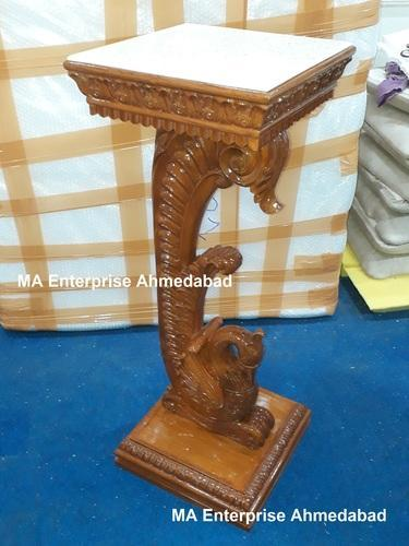 Wooden Side Table With Peacock Carving