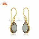 Handmade Gold Plated Silver Aqua Chalcedony Gemstone Womens Earrings Jewelry