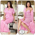 Ladies Pink Satin Nightwear