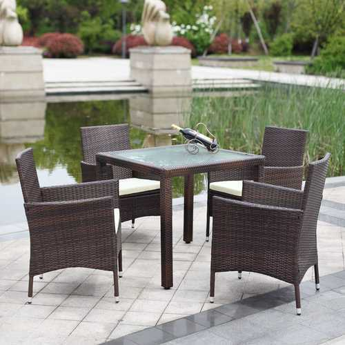 Brown Cane Wicker 4 Seater Garden Dining Table