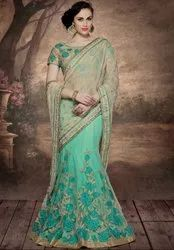 Mesmerizing Mint Green and Beige Lehenga Saree