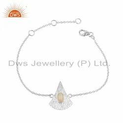 Ethiopian Opal Texture Design Sterling Fine Silver Chain Bracelet
