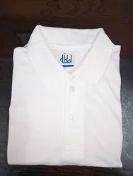 Cotton Printed White Polo T-Shirt For Men