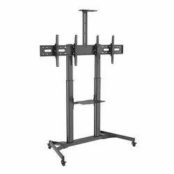 LUMI Matte Black Height Adjustable Dual Monitor Cart
