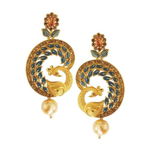 Gold Plated Pea Design Pearl Drop Earring