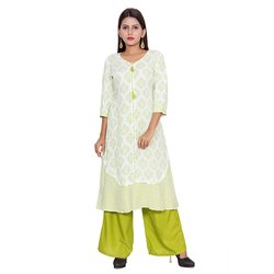 White and Green Rayon Kurti