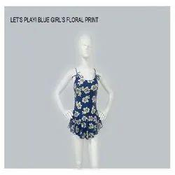 Blue Floral Print Girls Swim Wear