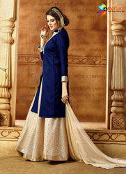 afcc120da9 Exciting Navy Blue Banarasi Silk Lehenga Suit