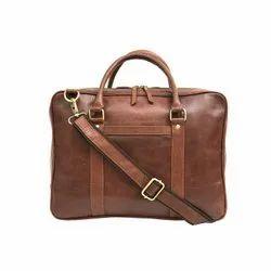Hot OEM Custom Design Reddish Brown Leather Portfolio Bag with Zipper Closure