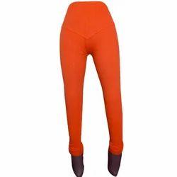 Orange Cotton Ladies Ankle Length Chikan Legging, Size: Large and XL