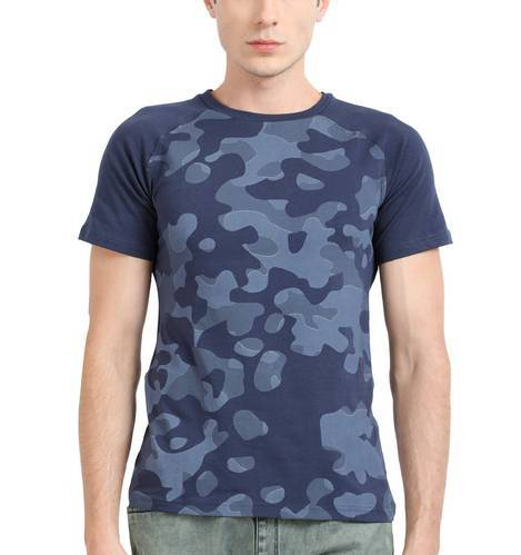 0021fda6 Green And Blue XXL And M Military Print T-shirt With Raglan Sleeves ...
