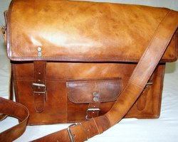 Flap Closure Leather Laptop Shoulder Bag