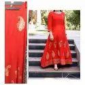 Ladies Red Printed Suit