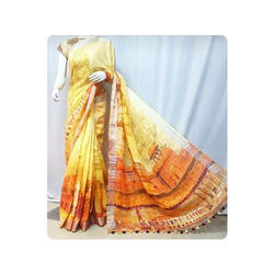 Linen Printed Saree, Length: 6 m