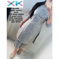 Ladies South Cotton Fancy Kurti With Culottes, Size: 38 -44