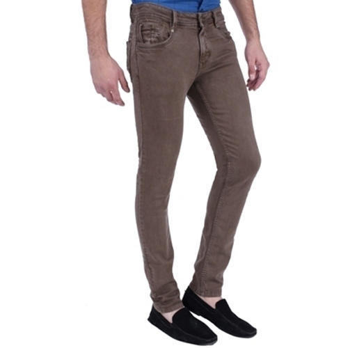 Cotton Brown Plain Jeans