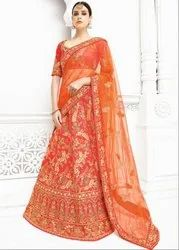 Charismatic Coral Orange Lehenga Saree