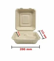 White Square 3 Compartment Wheat Straw Box (8 Inch,10 Inch), For Event and Party Supplies