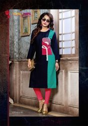 Antara Rayon with Embroidery Green And Black Kurti
