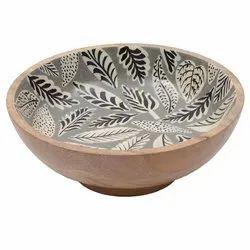 Enamel Print Leaf Design Wood Bowl