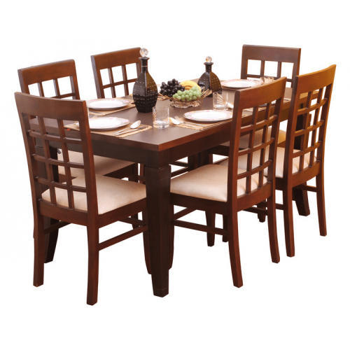 wooden brown 6 seater dining table, rs 7000 /set, laxmi steel 6 Seater Dining Table