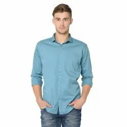 Collar Neck Plain Mens Solid Cotton Casual Shirts