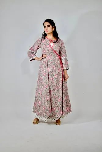 Grey and Pink Cotton Kantha Kurta & Pant Set