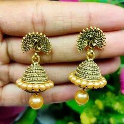 Jhumkis Party Wear Ladies Golden Brass Earring