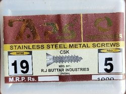 Flat Stainless Steel Sheet Metal Screw, For Furniture,Industries, Nickel