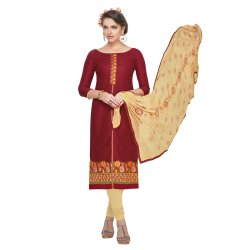 Maroon Colored Brasso Cotton Embroidery Unstitched Casual Wear Salwar Suit