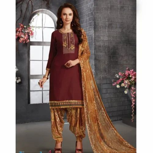 dba6247351 Casual Round Neck Ladies Banarasi Unstitched Silk Salwar Suit, Rs ...