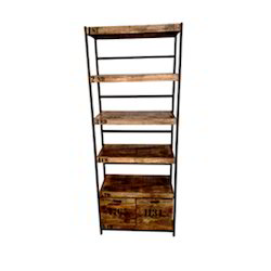 Antique Look Reclaimed Wood Book Shelf, Size: 100x45x210 Cm