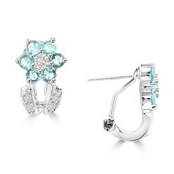 Floral Topaz Silver Earrings
