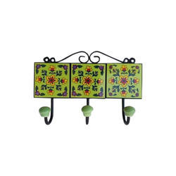 Mugal Art Handicraft Multicolor Iron Creamic Wall Hook