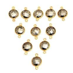 Pyrite Round Shape Gemstone Bezel Connector