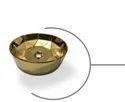 Titonic Round Shape Crystal Glass Basin, Size: 420x420x150mm