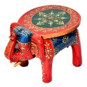 Wooden Handmade Decorative Elephant Stool Multicolored 8 Stool Decorative Item Home Decor
