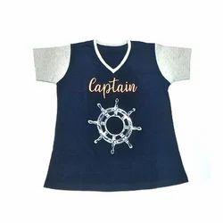 Blue Cotton Kids V Neck T Shirt