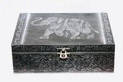 Embossed pattern Silver Storage/Jewelry Box, For Multi storage purpose, Size/Dimension: 9 X 7 X 3 Inches
