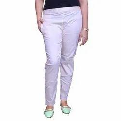 Cotton Plain Ladies White Casual Wear Pants