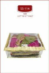 SHREE SHYAM PRODUCTS PLASTIC Golden Box Saree Transparent Cover, Size/Dimension: L 17 * B 13 H 8.5