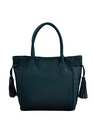 Blue Synthetic Leather Handbag
