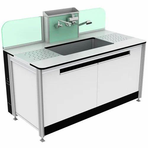 Wood,Aluminium,SS Laboratory Sink Table, Sink Shape: Rectangular