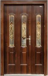 Security Steel Doors with Toughened Glass