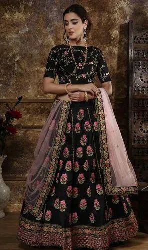 Pink Heavy Worked Bridal Lehenga  With Heavy Lace Work On Dupatta Lehenga Choli