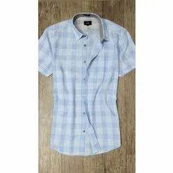 Collar Neck Mark Me Half Sleeve Mens Cotton Shirt, Machine wash