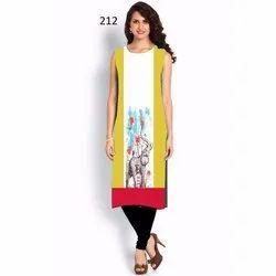 Trendy Sleeveless Digital Printed Kurti