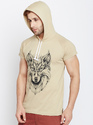 100% Cotton Men Short Sleeve Printed Hooded Round Neck T-Shirt