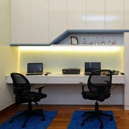 Pvc L Shape Modern Modular Kitchen Rs 850 Square Feet: Plywood White Designer Study Table, Rs 850 /square Feet, I